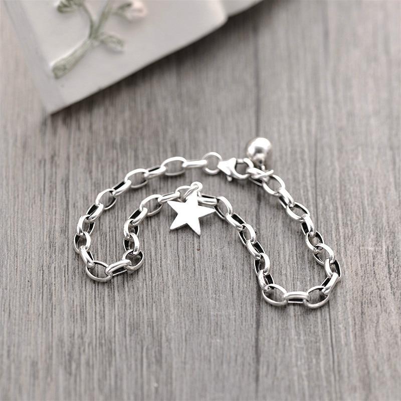 Flyleaf 925 Sterling Silver Pentagram Star Bracelets For Women Personality Simple Fashion Fine Jewelry Charm Bracelets & Bangles