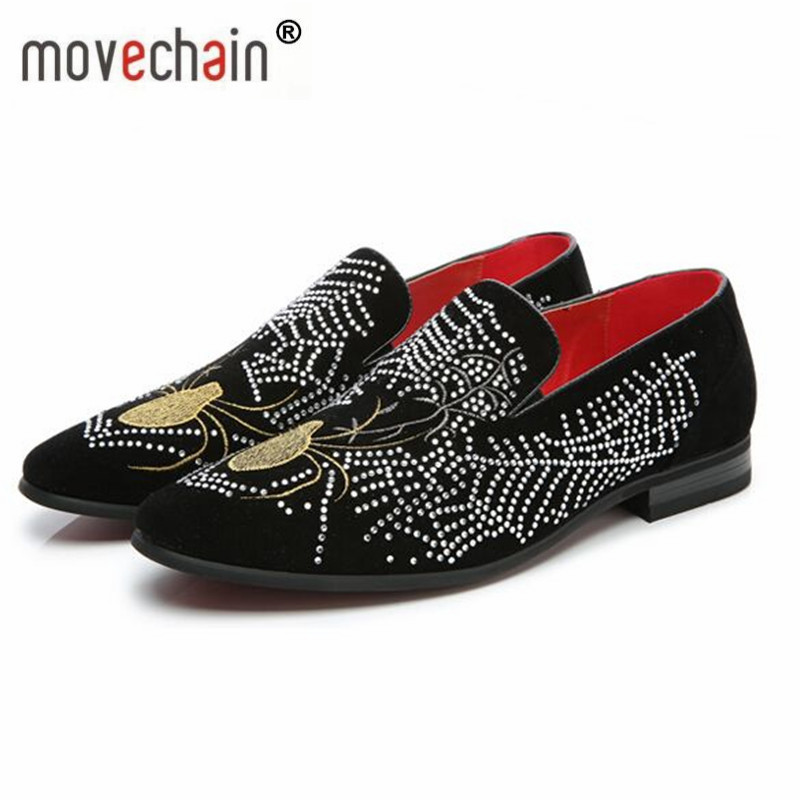 Men's Casual Shoes Shoes Movechain Mens Fashion Luxury Brand Suede Leather Loafers Mens Casual Rhinestone Spider Moccasins Shoes Man Party Driving Flats