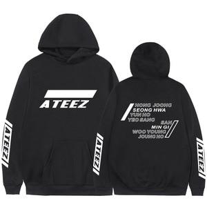 Image 2 - Kpop Ateez sweat shirt, faux deux pièces à capuche, pull imprimé à la mode