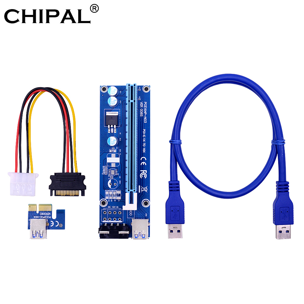 CHIPAL VER006S PCI-E Riser Card PCIe PCI Express 1x к 16x адаптеру 60 см USB 3,0 кабель 4Pin Molex Power forBitcoin Mining Miner