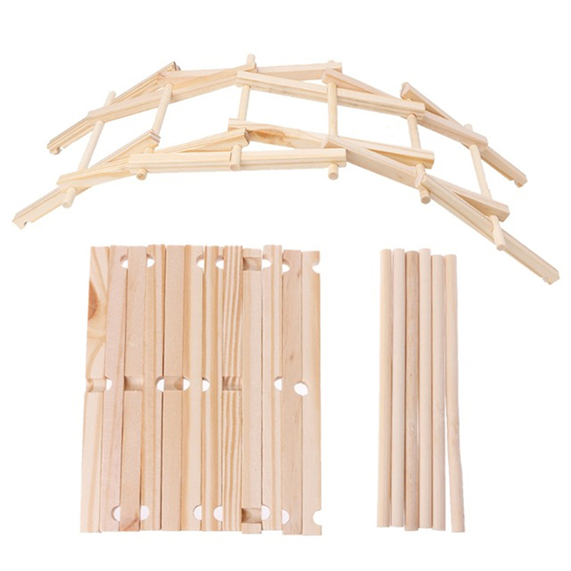 2018 New Da Vinci Bridge Pathfinders Wood Construction Model Kits Nature Color Infant Kids Fun Wooden Building Blocks Toy Set
