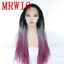 MRWIG Ombre Grey/Purple 26in Free Part Braided Box Braids Wig Synthetic Glueless Front Baby Hair Heat Resistant Fiber