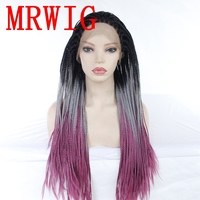 MRWIG Ombre Grey/Purple 26in Free Part Braided Box Braids Wig Synthetic Glueless Front Wig Baby Hair Heat Resistant Fiber