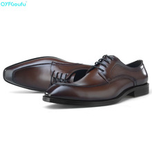 Brand 100% Genuine Leather Dress Shoes Men Oxfords High Quality Handmade Designers Formal Italy Business