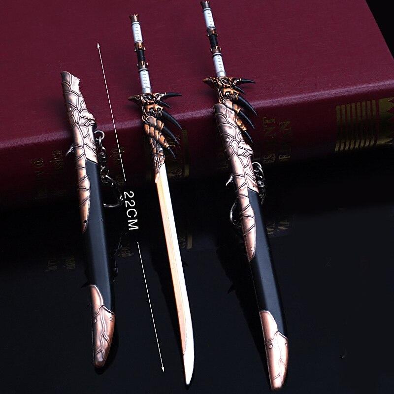 Liga de zinco 22cm do metal do anel chave do boneco de ação do mundo do caçador do monstro