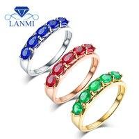 Prosta Konstrukcja Owalne Gen Zielony Emerald Blue Sapphire Red Ruby strona Pierścień Prawdziwe 14 K Białe Złoto dla Córki Żona Urodziny prezent
