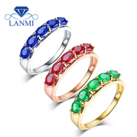 Simple Design Oval Gen Green Emerald Blue Sapphire Red Ruby Party Ring Real 14K White Gold for Wife Daughter Birthday Gift