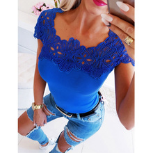 Summer Women Sexy Lace Hollow Out Patchwork Short Sleeve Slim Fit T-shirt Office