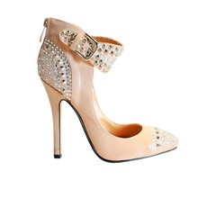 Women Pumps 2015 Rhinestone Rivets Buckle Strap Back Zipper Thin High Heels Fashion ladies Shoes Chaussure Femme New Arrive Sexy