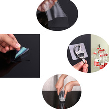 2PCS Double-sided Transparent Plastic Suction Cup Auxiliary Stickers Strong Without Trace Car Hook Magic Pad