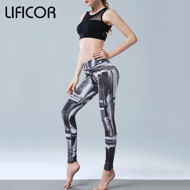 Women Sports Slim Elastic  Printed Yoga Pants