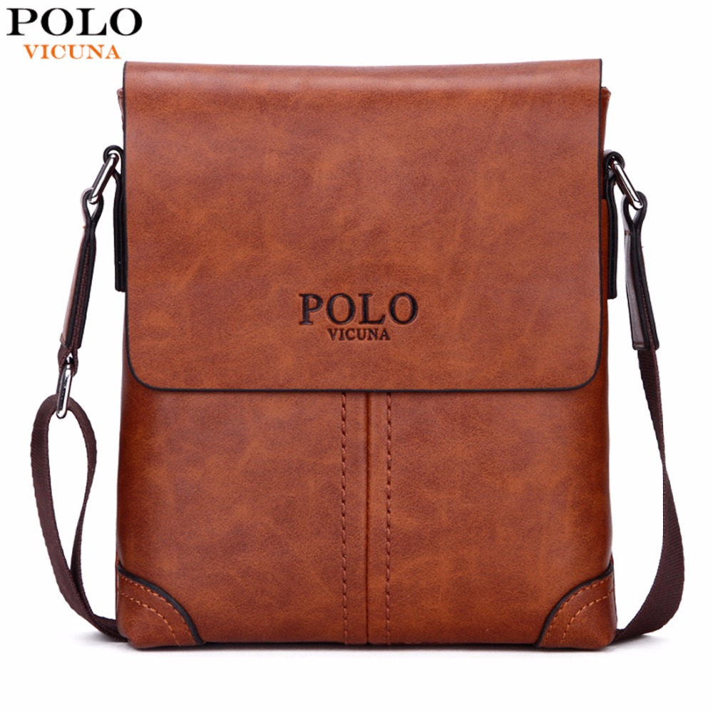 VICUNA POLO Durable Frosted Leather Men Messenger Bags Vintage Famous Brand Business Casual Man Bag Small Simple Leather Bag