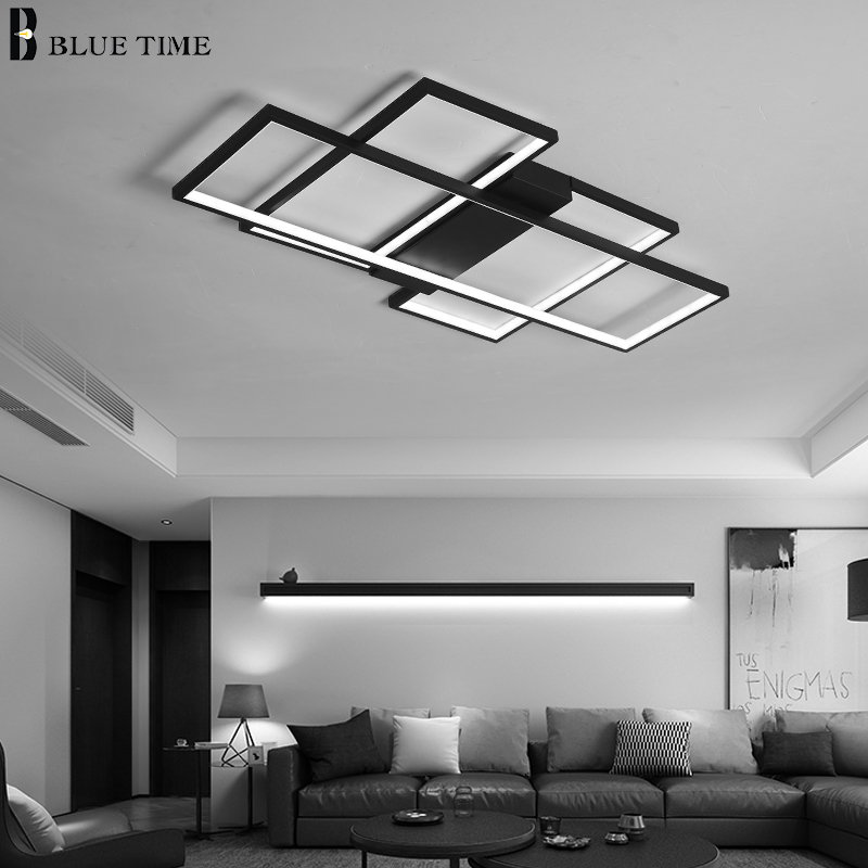 Image 3 - Black&White Body Modern LED Chandeliers For Living Room Bedroom Home Fixtures Led Ceiling Chandelier Lighting Lampara de techo-in Chandeliers from Lights & Lighting