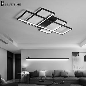 Image 3 - 블랙 & 화이트 현대 LED 샹들리에 거실 침실 홈 비품 Led 천장 샹들리에 실내 조명 Lampara de techo