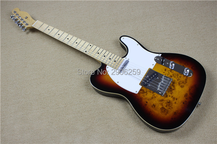 Hot Sale telecat electric <font><b>guitar</b></font> burl maple veneer basswood body Tl <font><b>guitar</b></font> ,vintage sunburst color chrome hardware high quality image