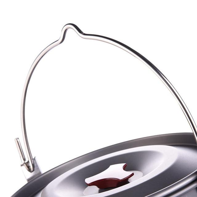 5L Cooking Pots Pans Outdoor Camping Cookware Hanging Picnic Pot Pan Aluminum Alloy Camping Stove Tool 1