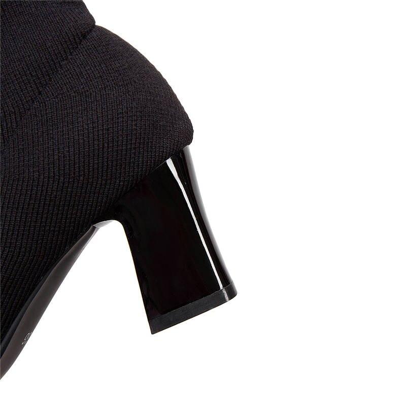 Spitz Stretch Socken Größe Auf Solide Frauen Winter 2018 Schwarzes High Heels Farben Stiefel Schuhe 33 Stiefeletten Memunia Slip Herbst 52 xwnRatq