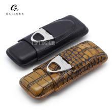 ENVÍO GRATIS COHIBA Leather Classic Croco en relieve 2 Tubo Cigar Holder Case con Cutter
