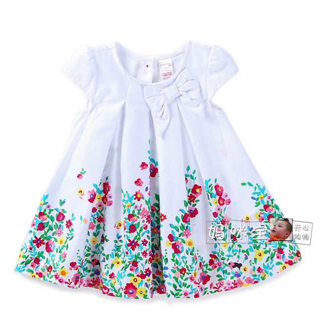 Nuevo vestido 2015 del verano del bebé ropa niños manga corta flores frescas arco vestido princesa vestidos infantis vestidos casuales