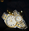Luxury Eyki Brand Couple Watches Fashion Fine Roman Scale Inlaid Rhinestone Steel Strap Quartz Watch Waterproof Lovers Tables