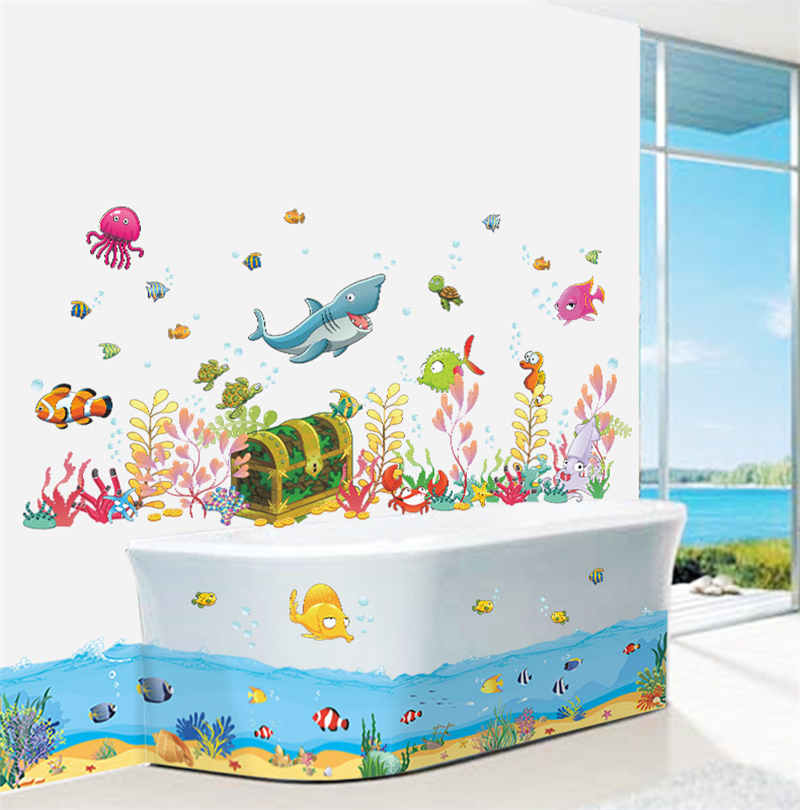 Fish Decals For Bathroom. Cartoon Underwater World Fish Shark Fish Pvc Wall Decals Stickers For Kids Rooms Bathroom Wall Decor Kids Children Gift In Wall Stickers From Home Garden