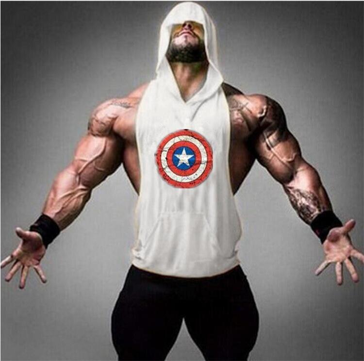 Kapitän Amerika Turnhallen kleidung Bodybuilding und Fitness Männer Tank Top hoodies Tier Weste Stringer Sporting Shirts