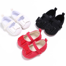 2017 Baby Girls Butterfly knot Princess Shoes Toddler Soft Bottom Cotton Shoes Prewalkers Dancing Party Shoes 0~18Month