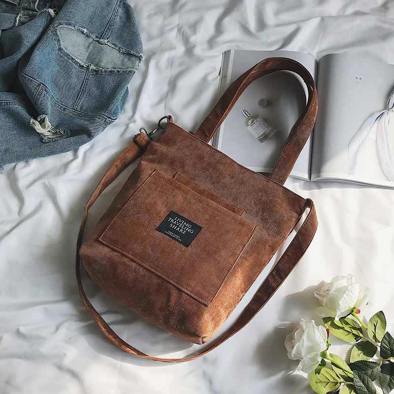 Corduroy Zipper Luxury Handbags Women Bags Designer Women Shoulder Bag Female Handbag Lady Messenger Bag Handbag in Shoulder Bags from Luggage Bags