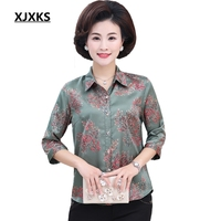 XJXKS New 2019 Spring Women Tops Middle aged Mother Shirt Women 7/10 Sleeves Grandma Clothes Spring And Summer Shirts