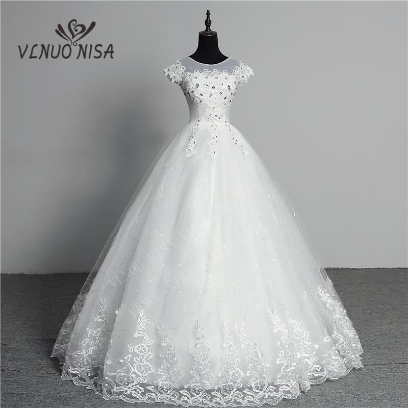 Custom Made Wedding Dress 2018 New Arrival Crystal Appliques Embroidery Lace O-Neck Short Sleeve Princess Gown Vestidos De Novia