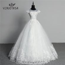 Custom Made Wedding Dress 2020 New Arrival Crystal Appliques Embroidery Lace O Neck Short Sleeve Princess Gown Vestidos De Novia
