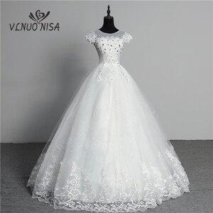 Image 1 - Custom Made Wedding Dress 2020 New Arrival Crystal Appliques Embroidery Lace O Neck Short Sleeve Princess Gown Vestidos De Novia