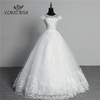 Custom Made Wedding Dress 2020 New Arrival Crystal Appliques Embroidery Lace O-Neck Short Sleeve Princess Gown Vestidos De Novia - discount item  35% OFF Wedding Dresses