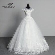 Özel yapılmış düğün elbisesi 2020 yeni varış kristal aplikler nakış dantel o boyun kısa kollu prenses kıyafeti Vestidos De Novia