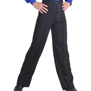 Image 1 - 新しい到着ブラックカラープロフェッショナルメンズラテンダンスパンツスパンデックス男の子社交ダンスパンツ