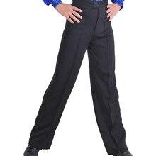 Pantalones de baile latino para hombre, pantalón profesional, licra, color negro, para baile de salón