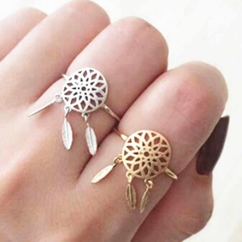 2019 versão coreana moda oco pena anéis de abertura ajustável ouro/prata cor dreamcatcher anéis para o presente das meninas do sexo feminino