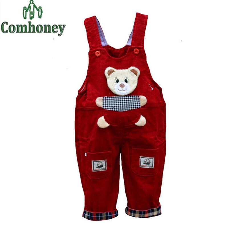 Cute Baby Overalls Cartoon Bear Print Spring Autumn Girls Boys Jumpsuits Corduroy Solid Denim Pants Jeans