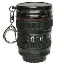 Behokic Mini Camera Lens Mug Cup 24-105mm 1:1 Coffee Coffe Tea Cup Travel Mug Stainless Steel with Key Chain Keyring Lid Copos(China)