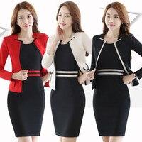 Fmasuth Nữ Ăn Mặc Phù Hợp Với cho Công Việc Full Sleeve Blazer Tay + Tay Áo 2 Cái Set Cho Businesss Phụ Nữ ow0364