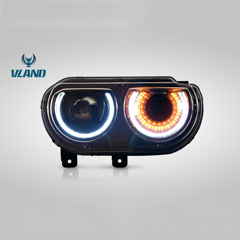Vland Factory Car Accessories Head Lamp for Dodge Challenger 2008 2014 LED Head Light with Sequential