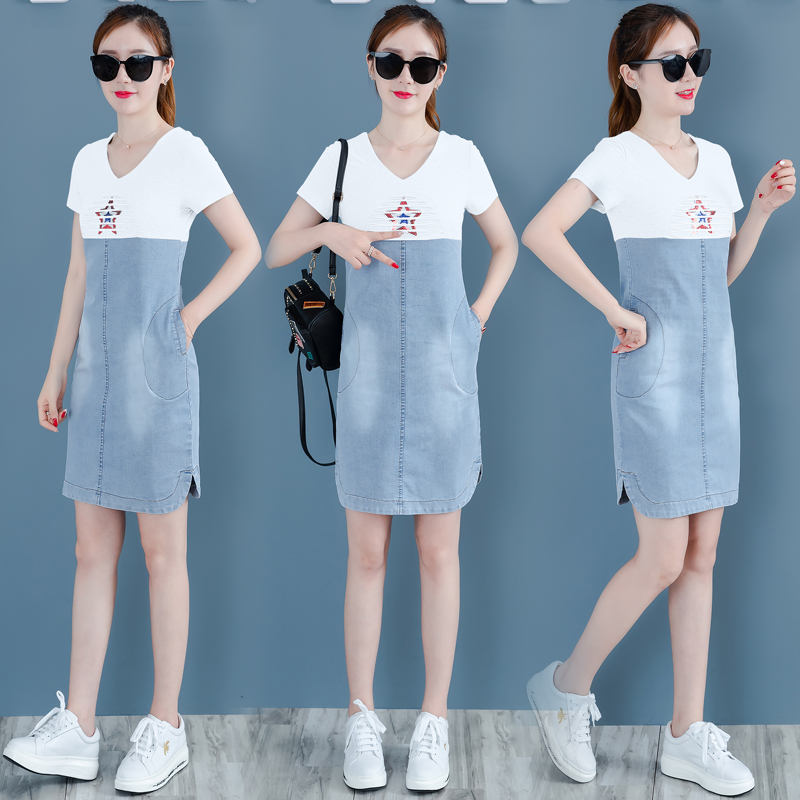 YICIYA jean dresses women mini t shirt dress summer short woman 2019 vestido jeans patchwork denim blue elegant pocket clothing in Dresses from Women 39 s Clothing