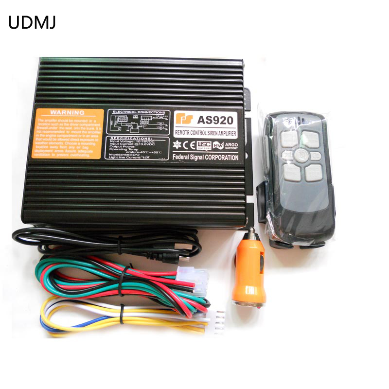 UDMJ AS920 200W Car Alarm Siren 9 Tone Loudspeaker Horn Electronic Horn Siren Wireless Remote Control Police Siren Only Host ms 490 ac 110v 220v 150db motor driven air raid siren metal horn double industry boat alarm