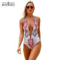 Hotapei 2017 Sexy Plunging Neck One Piece Swimwear Women Stylish Printed Maillot Bodysuit High Cut Monokini