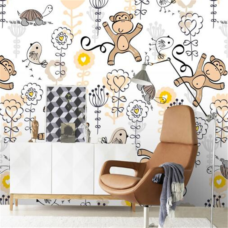 Cartoon Photo Wallpapers Hand-painted Monkey Children Wallpapers for Living Room Modern Murals 3D Wall Papers Home Decor Bedroom monkey foil balloon auto seal reuse party wedding decor inflatable gift for children