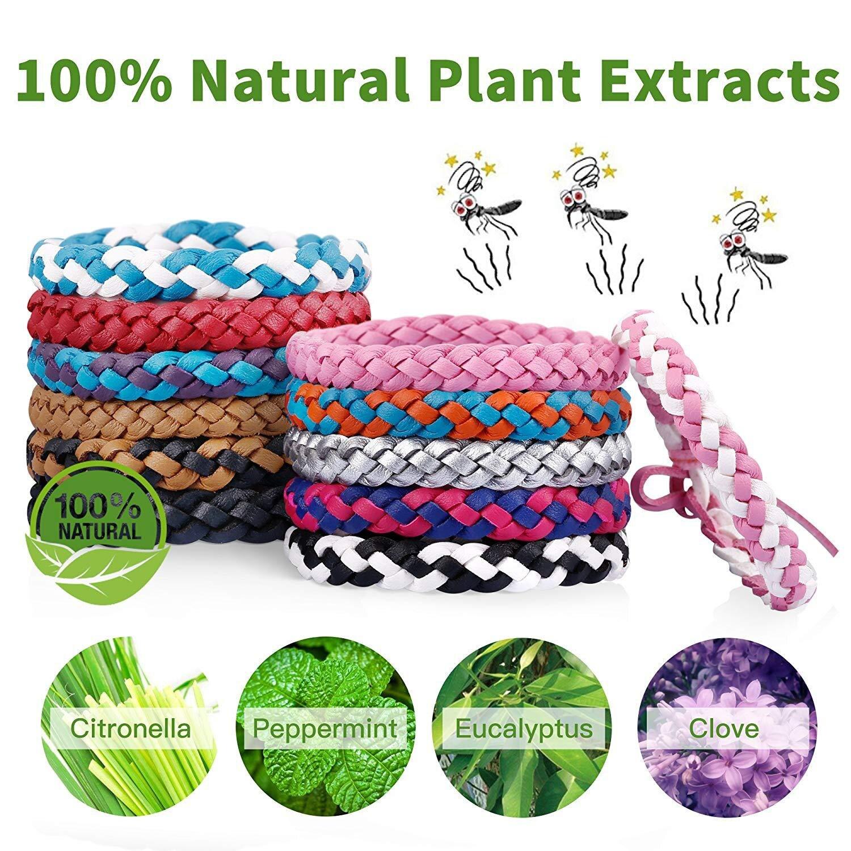 Yooap Mosquito Repellent Bracelet, (12 pieces / 12 colors), natural vegetable oil mosquito wrist strap - non-toxic.