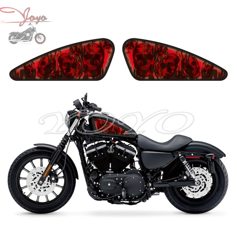 Motorcycle Red Skull <font><b>Sticker</b></font> Flame Decal Fuel Tank Decals <font><b>Stickers</b></font> For Harley Sportster XL 883 N/C/R/L 1200 X/V/R/N/L/C/<font><b>S</b></font> XR1200 image