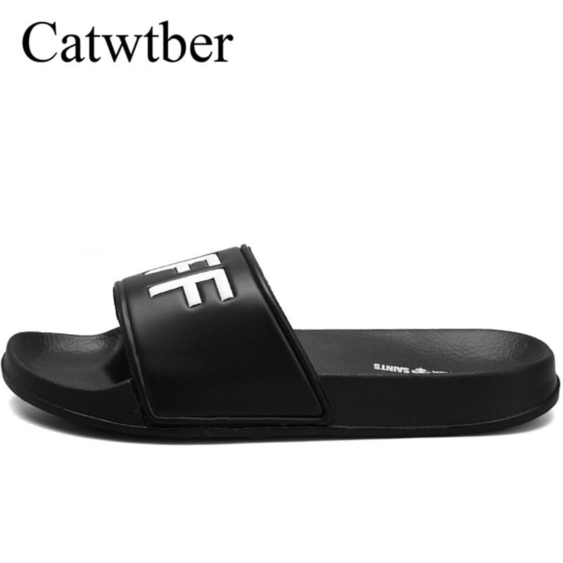 Catwtber Brand Slippers Men Unisex Bathroom Shower Slippers Indoor Home Slippers Beach Flip Flops Summer Flat Heel Casual Flats krorche brand new unisex lovers flip flops indoor
