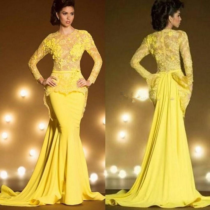 Unique Bright Yellow Mermaid Evening Dress O-Neck Regular Long Sleeves Formal Party Dress Court Train Appliqued Satin Vestidos