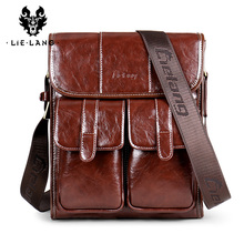 LIELANG Men Shoulder Bag Messenger Leather Waterproof Crossbody For Vintage Business